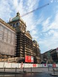 Historical building of National museum is reconstructed. NATIONAL MUSEUM, PRAGUE, CZECH REPUBLIC / CZECHIA - Historical building s reconstructed, renovated Royalty Free Stock Image