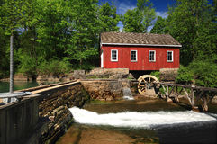 Historical building of Old water sawmill. Picture, general view of old (historical building) Living Museum, Sawmill on Beaverdams Creek Ontario and small pond Stock Photo