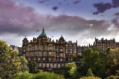 HISTORICAL BUILDING OF THE SCOTTISH BANK , CENTRAL EDINBURGH stock photography