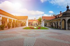 Historical building on spa island in Piestany SLOVAKIA Royalty Free Stock Photo
