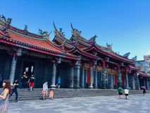 The historical building, view of Xingtian Temple, it`s a popular temple in Zhongshan District, Taipei, Taiwan stock photography