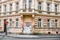 Historical building with walls painted in graffiti Royalty Free Stock Image