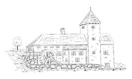 Historical building watermill. Vector - historical building - isolated on background Stock Images