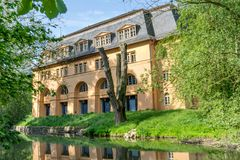 A historical building in Weimar. Historical building in Weimar on the river Ilm stock images
