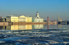 Historical buildings across the Neva river in Saint-Petersburg, Russia. Stock Photos