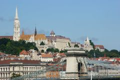 Historical Buildings along Danubio royalty free stock photos