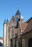 Historical buildings, Brugge. Roofs of Bruges, old buildings Stock Image