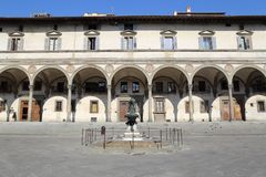 Historical piazza in Florence, Italy. Historical buildings and a fountain on the Piazza Santissima Annunziata square in Florence, Italy Stock Photography