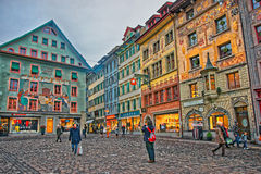 Historical buildings with frescos at picturesque square Muhlenplatz Stock Photo