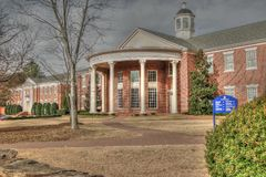 Historical buildings and gardens at the Southeastern Baptist The. Wake Forest, North Carolina, USA – November 21, 2012: Historical buildings and gardens royalty free stock photography