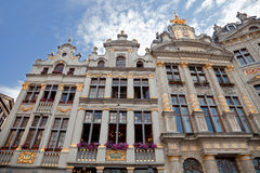 Historical Buildings of Grand Place in Brussels Against Cloudy Blue Sky Royalty Free Stock Image