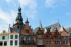 Historical buildings at the Great Market in Nijmegen, Netherlands. Gables of historical buildings at the Great Market in Nijmegen, Netherlands royalty free stock photography