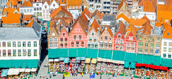 Historical buildings on Market Square in Belgium Stock Photography