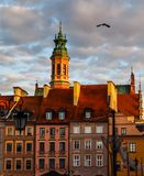 Historical buildings at Market Square of the Old Town with Christmas decorations in sunset. Warsaw, Poland stock image
