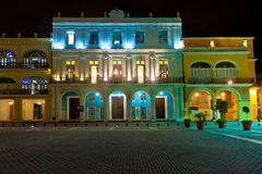 Historical buildings in Old Havana at night Stock Photos