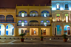 Historical buildings in Old Havana at night Stock Images