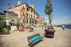 Historical buildings of old pier in Istanbul Royalty Free Stock Photography