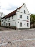 Historical buildings in old town of Kuldiga, Latvia Stock Photo