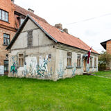 Historical buildings in old town of Kuldiga, Latvia Stock Images