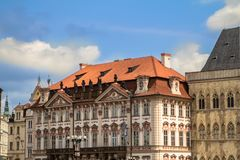 Historical buildings in old town in Prague, Czech republic Stock Photos