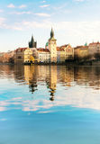Historical buildings in Prague from across the river Royalty Free Stock Photos