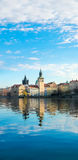 Historical buildings in Prague from across the river Stock Photography