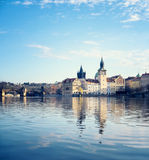 Historical buildings in Prague from across Vltava Royalty Free Stock Images