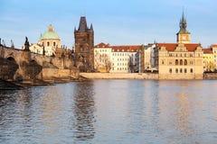 Historical buildings in Prague and Charles Bridge Stock Image