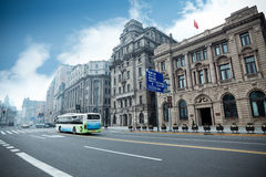 Historical buildings in shanghai. Historical buildings with modern street in shanghai bund,China Royalty Free Stock Photography