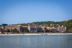 Historical buildings on shore side of Danube river in Budapest Stock Image