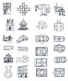 Historical buildings sketches Royalty Free Stock Image