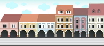 Historical buildings on the square. Illustration of series historical buildings on the square. Vector format is available Stock Photography