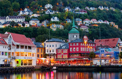 Historical buildings on the street in Bergen , Norway Stock Images
