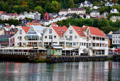 Historical buildings on the street in Bergen , Norway Royalty Free Stock Image