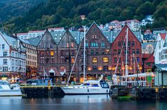 Historical buildings on the street in Bergen,  Norway Stock Photos