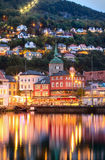 Historical buildings on the street in Bergen,  Norway Stock Image