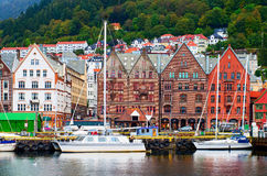 Historical buildings on the street in Bergen Royalty Free Stock Photo