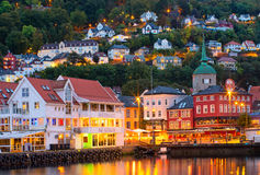 Historical buildings on the street in Bergen Royalty Free Stock Photography