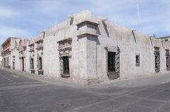 Historical buildings on the streets of Arequipa. Royalty Free Stock Photo