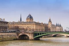 Tribunal de Commerce, Conciergerie, Pont Notre Dame bridge in Paris. Historical buildings - Tribunal de Commerce, Conciergerie, Pont Notre Dame bridge, the river stock images