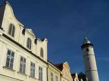Historical buildings with watc Royalty Free Stock Photography