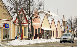 Historical buildings on the Zholudev street in Vawkavysk. Belarus Royalty Free Stock Photography