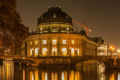 Historical buildung from museums island at night on the river spree stock photo