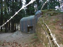 Historical bunkers in a border line around slavonice Stock Photo