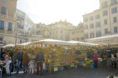 The historical Campo de Fiori food market Stock Images