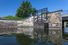 Historical canal with the sluice in Gdansk Royalty Free Stock Images