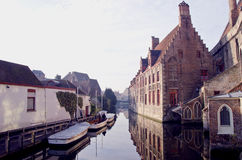 Historical canals in Belgium Brugge Royalty Free Stock Image