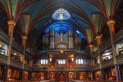 Historical Casavant Organ at Notre Dame Basilica, Montreal stock images