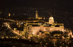 Historical Castle Budapest. Buda Castle in Budape from The Gellert Hill at night Stock Photo