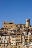 Historical castle and church on top of the hill in Valderrobres Royalty Free Stock Photo